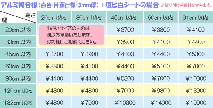 プリント+板材 大体こんな価格です。